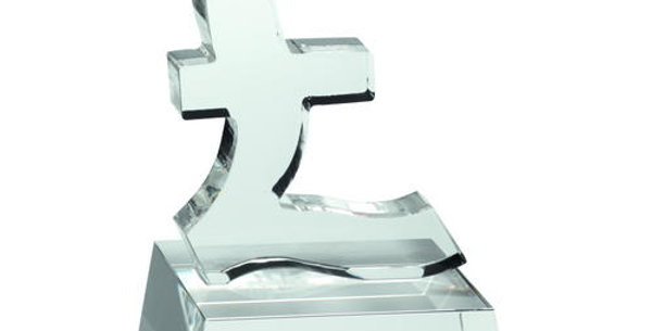 CLEAR GLASS 'POUND SIGN' ON BASE - 4.75in