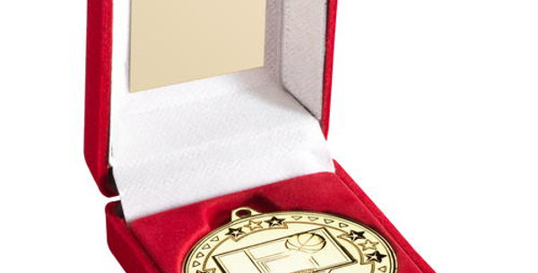 RED  BOX AND BASKETBALL MEDAL