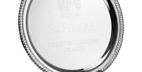 SILVER PLATED 'ROPE' SALVER ON WOODEN STAND - 11.5in