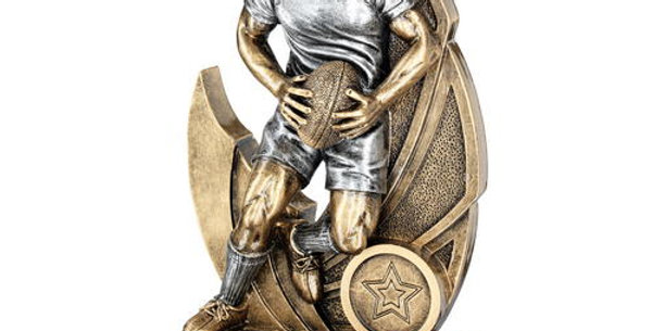 MALE RUGBY FIGURE ON BACKDROP TROPHY