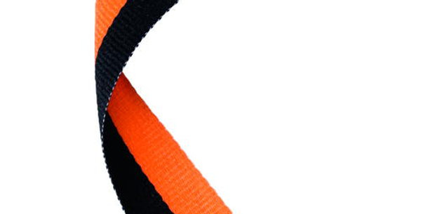 MEDAL RIBBON BLACK/ORANGE - 30 X 0.875in