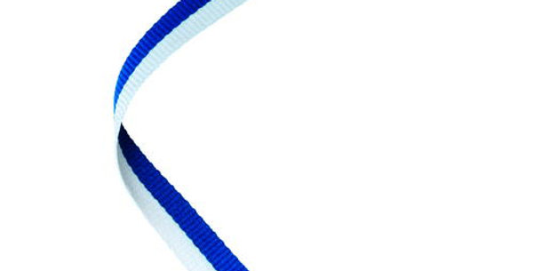 NARROW MEDAL RIBBON BLUE/WHITE - 30 x 0.4in
