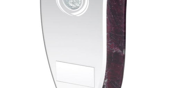 JADE GLASS WITH CLARET/SILVER MARBLE DETAIL AND GOLF INSERT