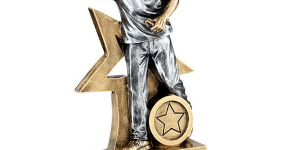 FEMALE DARTS FIGURE WITH STAR BACKING TROPHY