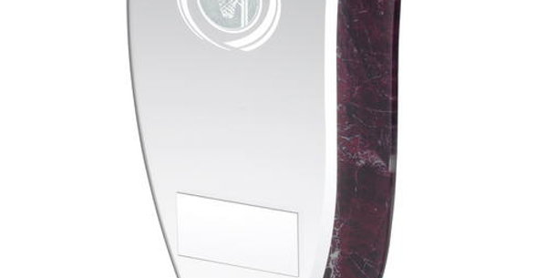 JADE GLASS WITH CLARET/SILVER MARBLE DETAIL AND NETBALL INSERT TROPHY