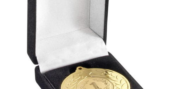 DELUXE BLACK MEDAL BOX - (40/50MM RECESS) 3in