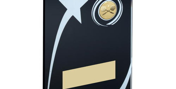 BLK/WHITE GLASS PLAQUE WITH SQUASH INSERT TROPHY