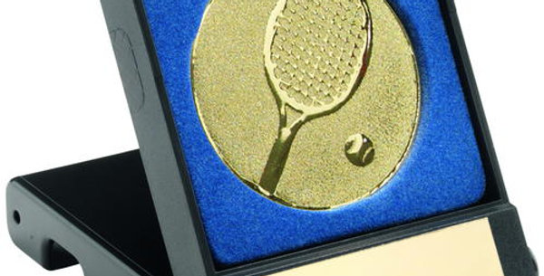 BLACK PLASTIC BOX WITH TENNIS INSERT TROPHY