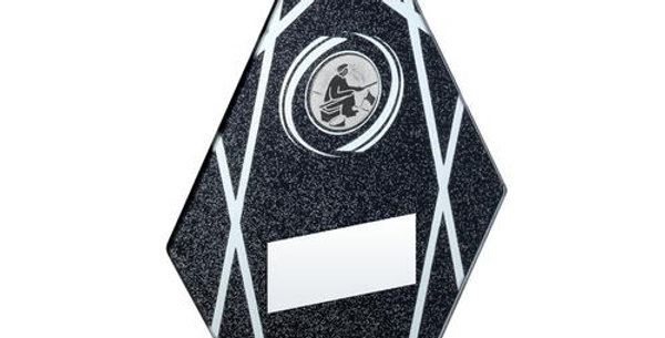 BLACK/SILVER PRINTED GLASS DIAMOND WITH ANGLING INSERT TROPHY