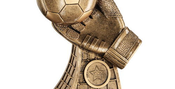 BRZ/GOLD FOOTBALL AND GOALKEEPER GLOVE ON NET BASE TROPHY (1in CENTRE) - 7.25in