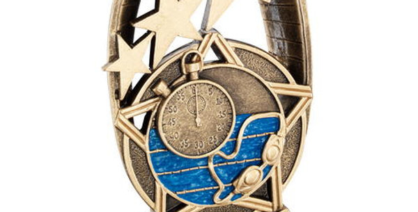 SWIMMING TRI STAR OVAL PLAQUE TROPHY