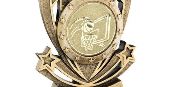 SHOOTING STAR SERIES WITH BASKETBALL INSERT TROPHY