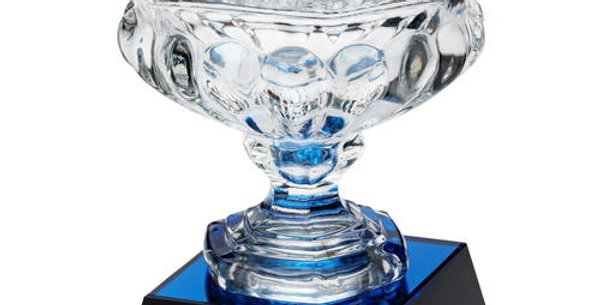 """CLEAR GLASS BOWL ON BLUE/BLACK BASE (APPROX 7"""""""" DIA) - 8.25in"""
