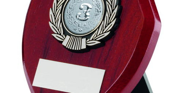ROSEWOOD SHIELD AND SILVER TRIM TROPHY -1in CENTRE