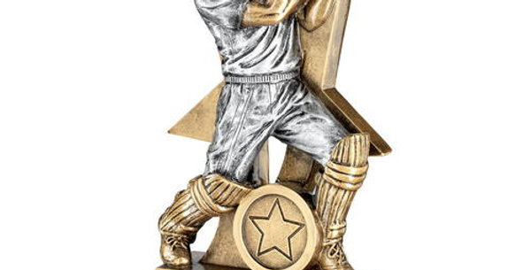 CRICKET BATSMAN FIGURE WITH STAR BACKING TROPHY