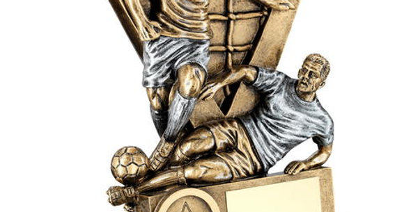 MALE DOUBLE FOOTBALL FIGURES WITH V-NET BACKDROP TROPHY
