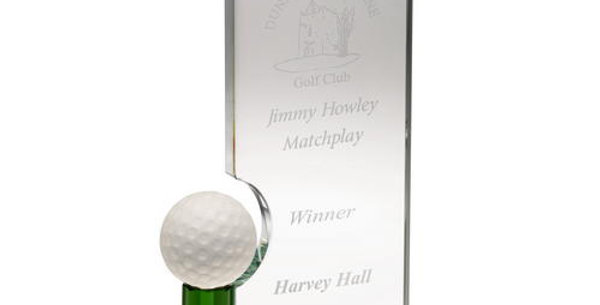 CLEAR/GREEN GLASS RECTANGLE WITH GOLF BALL