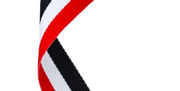 MEDAL RIBBON RED/WHITE/BLACK - 30 X 0.875in