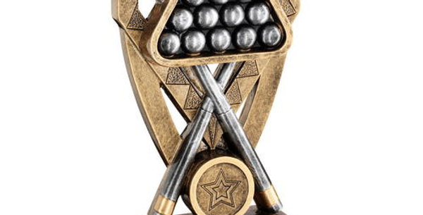 POOL/SNOOKER BALLS WITH CUES ON DIAMOND TROPHY