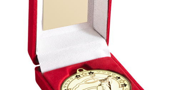 RED BOX AND 50mm MEDAL GOLF TROPHY