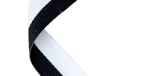 MEDAL RIBBON BLACK/WHITE - 30 X 0.875in