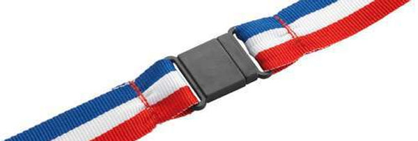 MEDAL RIBBON R/W/B WITH PLASTIC SAFETY CLIP - 30 X 0.875in