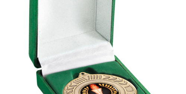 DELUXE GREEN MEDAL BOX - (40/50MM RECESS) 3in