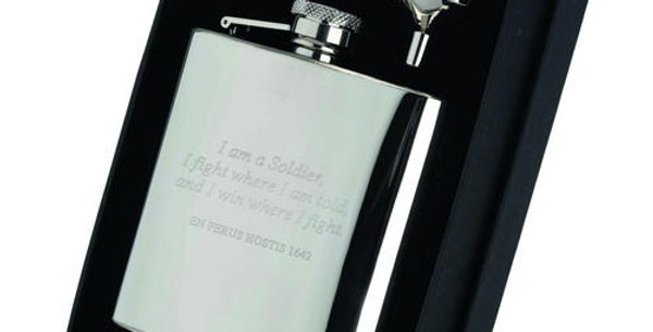 6oz STAINLESS STEEL HIP FLASK WITH CAPTIVE TOP - 4.25in