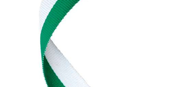 MEDAL RIBBON GREEN/WHITE - 30 X 0.875in