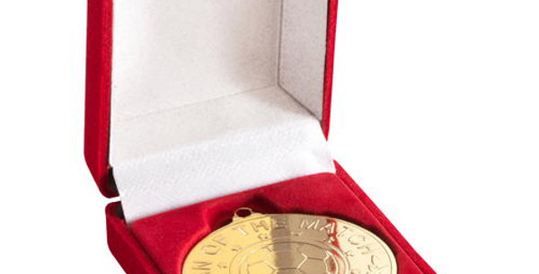 DELUXE RED MEDAL BOX - (40/50MM RECESS) 3in
