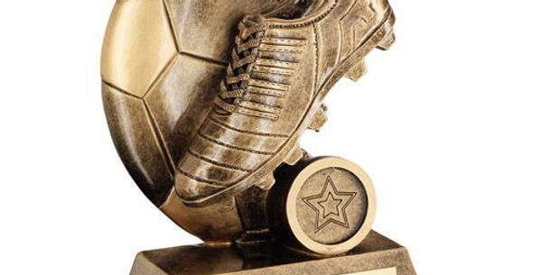 FOOTBALL TROPHY BOOT ON FLAT HALF BALL TROPHY