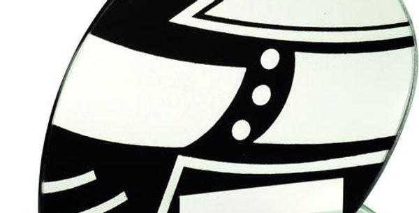 JADE GLASS BLK/SILV MOTOR SPORT HELMET TROPHY