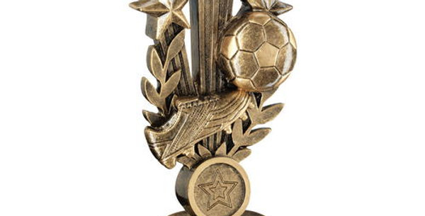 FOOTBALL WITH BOOT ON TRI STAR WREATH RISER TROPHY
