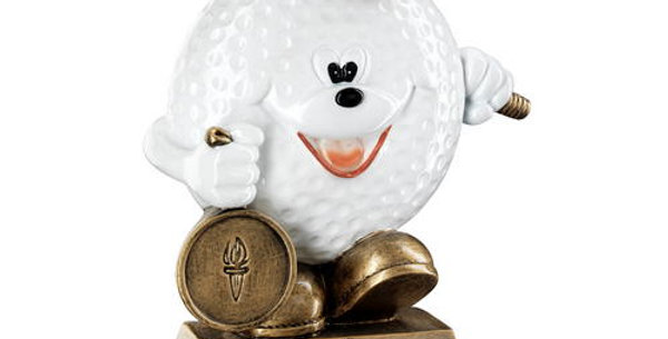 COMEDY GOLF BALL FIGURE TROPHY - 5.75in