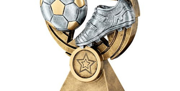 FOOTBALL AND BOOT ON STAR HOLED SPIRAL TROPHY