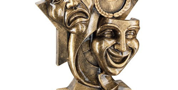 DRAMA MASKS ON STAR BACKDROP TROPHY - (1in CENTRE) 5.75in