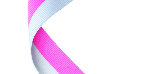 MEDAL RIBBON PINK/WHITE - 30 X 0.875in