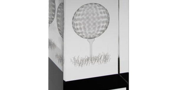GLASS BLOCK WITH LASERED GOLF IMAGE TROPHY