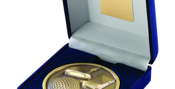 BLUE VELVET BOX AND 70mm MEDALLION GOLF TROPHY