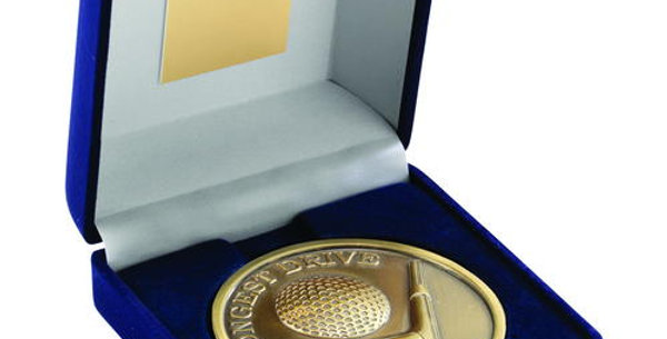 BLUE BOX AND MEDALLION GOLF GOLD LONGEST DRIVE 4""