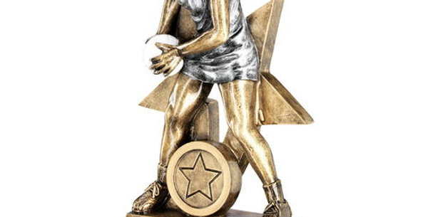 BRZ/PEW/WHITE FEMALE NETBALL FIGURE WITH STAR BACKING TROPHY