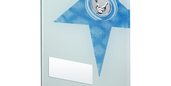 WHITE/BLUE PRINTED GLASS RECTANGLE WITH TEN PIN INSERT TROPHY