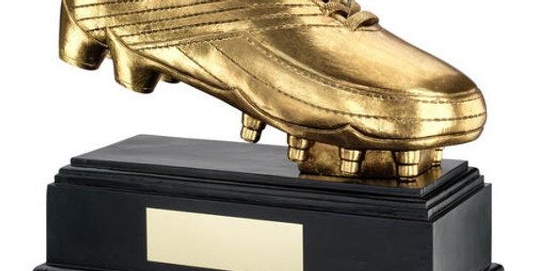 ANTIQUE GOLD PREMIUM FOOTBALL BOOT ON BLACK BASE TROPHY
