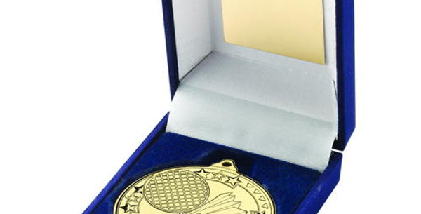 BLUE BOX AND 50mm BADMINTON MEDAL