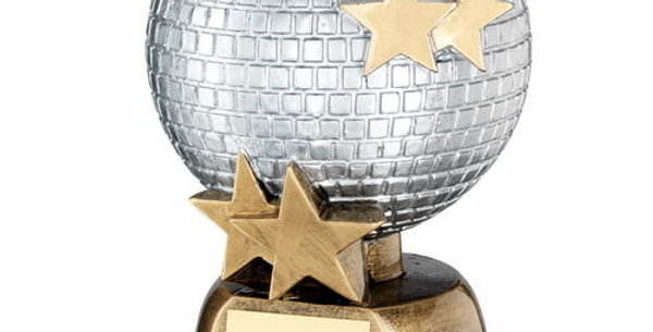 GLITTER BALL WITH STARS TROPHY