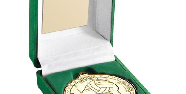 GREEN  BOX AND 50mm MEDAL GAELIC FOOTBALL MEDAL