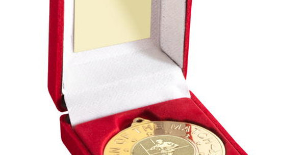 RED BOX AND 50mm MEDAL WITH RUGBY INSERT 'M.O.T.M'  - GOLD - 3.5in