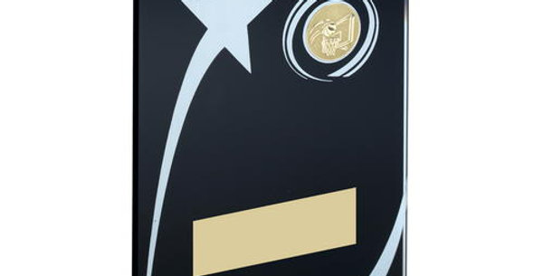 BLK/WHITE PRINTED GLASS PLAQUE WITH BASKETBALL INSERT TROPHY