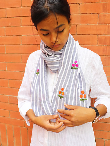 Grey Stripes ' Hand Embroidered ' Organic Cotton Stole