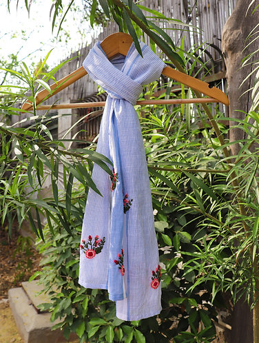 Blue Stripes ' Hand Embroidered ' Organic Cotton Stole